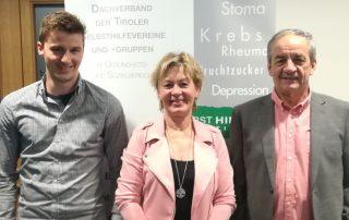 Die Vortragenden beim Netzwerktreffen in Landeck - Matthias Rogen (BVA), Martha Salchner (KIB), Gerhard Hörhager (SHG Osteoporose)