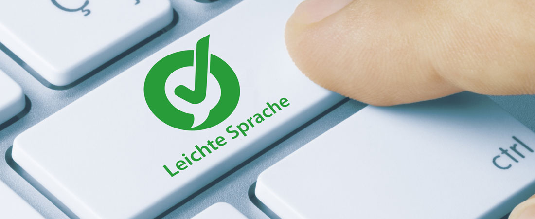 Leichte Sprache Symbol auf einer Tastatur