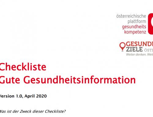 Checkliste gute Gesundheitsinformation _ÖPGK